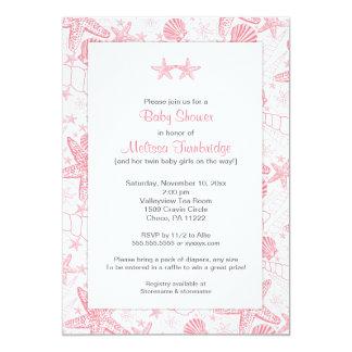 Pink Sea Shells Starfish Twin girls baby shower Card