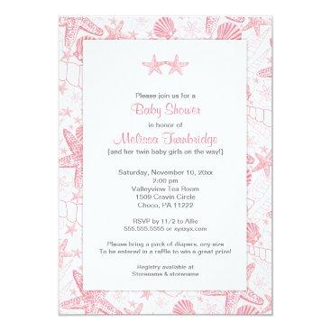 Beach Themed Pink Sea Shells Starfish Twin girls baby shower Card