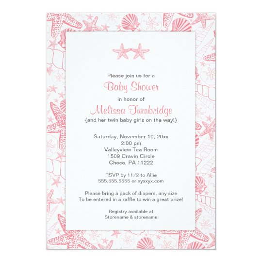Pink Sea Shells Starfish Twin Girls Baby Shower Invitation Zazzle Com