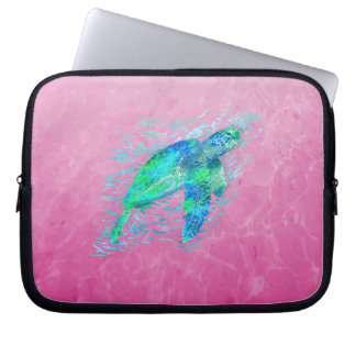 Pink Sea Turtle Laptop Sleeve