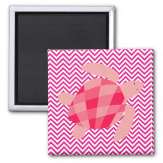 Pink Sea Turtle on Pink Chevron Stripe Magnet