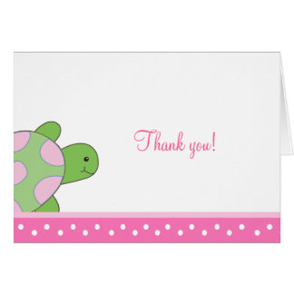 Pink Sea Turtle seaturtle Folded Thank you notes