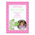 Pink Sea Turtle Tortoise *PHOTO* Birthday 5x7 Personalized Announcement