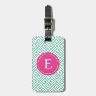 Pink & Seafoam Greek Key | Luggage Tag