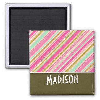 Pink & Seafoam Green Stripes Magnets