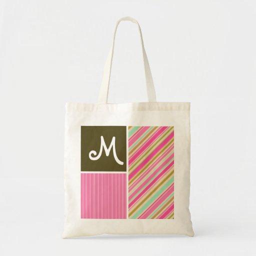 Pink & Seafoam Gren Stripes; Striped Canvas Bags