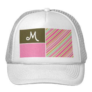 Pink & Seafoam Gren Stripes; Striped Mesh Hats