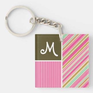 Pink & Seafoam Gren Stripes; Striped Square Acrylic Keychain