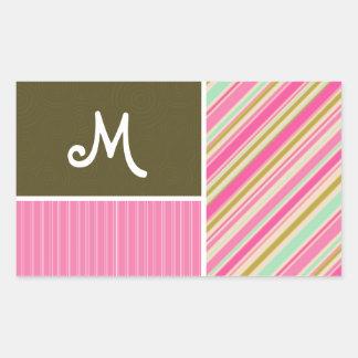 Pink & Seafoam Gren Stripes; Striped Rectangular Sticker