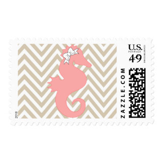 Pink Seahorse  Beach Baby Shower Postage