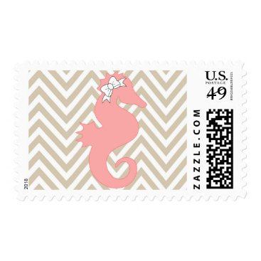 Beach Themed Pink Seahorse  Beach Baby Shower Postage