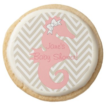 Beach Themed Pink Seahorse Beach Theme Baby Shower Cookie