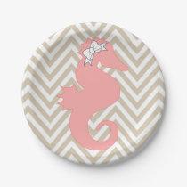 Pink Seahorse Beach Theme Paper Plates