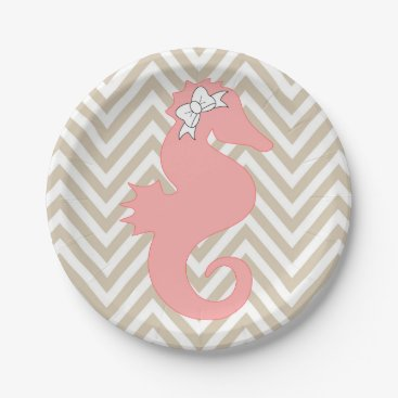 Beach Themed Pink Seahorse Beach Theme Paper Plates