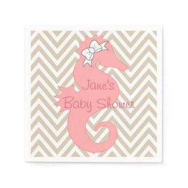 Beach Themed Pink Seahorse Beach Themed Baby Shower Napkins