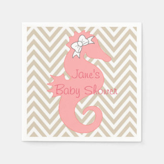 Pink Seahorse Beach Themed Baby Shower Napkins Standard Cocktail Napkin
