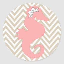Pink Seahorse Beach Themed Baby Shower Sticker