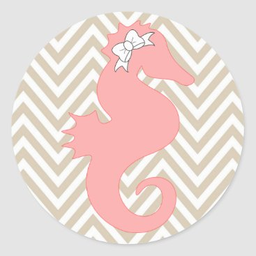 Beach Themed Pink Seahorse Beach Themed Baby Shower Sticker