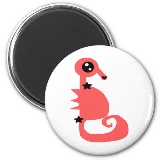 Pink Seahorse of Love and Stars 2 Inch Round Magnet