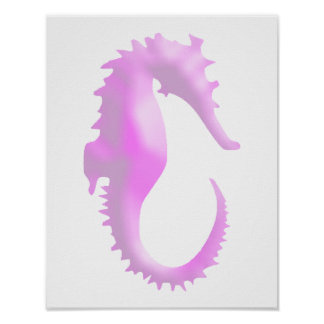 Pink Seahorse Poster