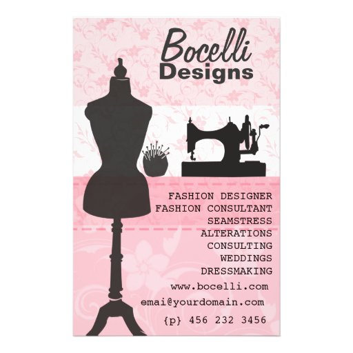 pink seamstress fashion flyer design zazzle