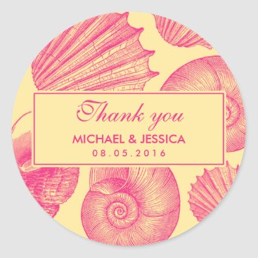 Beach Themed Pink Seashell Wedding Thank You Sticker Label