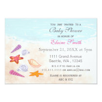 Pink seashells Ocean Beach Baby shower Invites