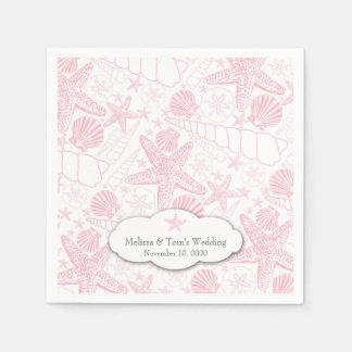 Pink Seashells Wedding or girl Baby Shower napkins