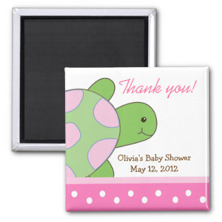 Pink Seaturtle Sea Turtle Baby Shower Favor Magnet