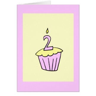 Pink Second Birthday Cupcake Card