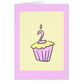 Pink Second Birthday Cupcake Card