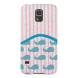 pink seersucker whale pattern with a wave case for galaxy s5