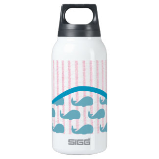 pink seersucker whale pattern with a wave insulated water bottle