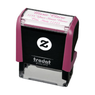 pink self-inking stamp with name & address for her