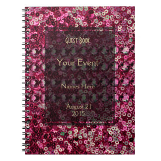 Pink Sequin, Glitter and Diamond Look Spiral Notebook