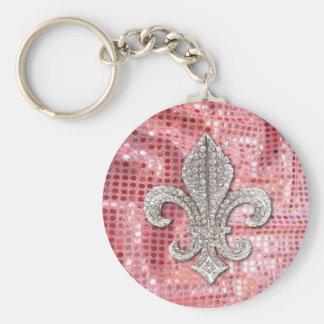 Pink Sequin Sparkle Jewel Fleur De Lis Vintage Basic Round Button Keychain