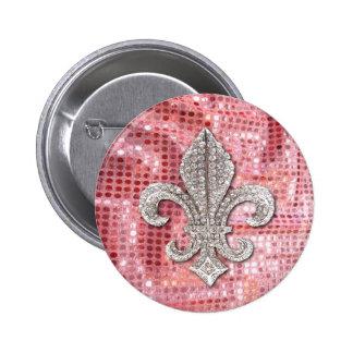 Pink Sequin Sparkle Jewel Fleur De Lis Vintage 2 Inch Round Button
