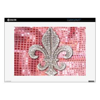 Pink Sequin Sparkle Jewel Fleur De Lis Vintage Decal For Laptop