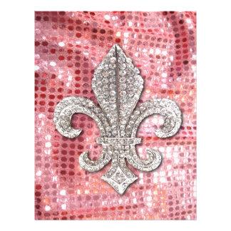 Pink Sequin Sparkle Jewel Fleur De Lis Vintage Letterhead