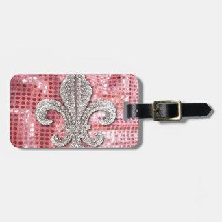 Pink Sequin Sparkle Jewel Fleur De Lis Vintage Luggage Tags