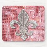 Pink Sequin Sparkle Jewel Fleur De Lis Vintage Mouse Pad