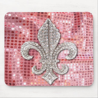 Pink Sequin Sparkle Jewel Fleur De Lis Vintage Mousepads