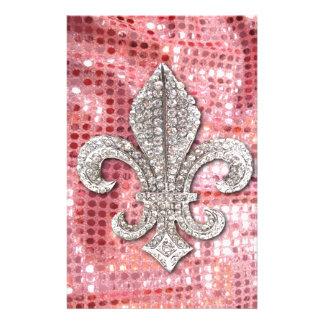 Pink Sequin Sparkle Jewel Fleur De Lis Vintage Stationery