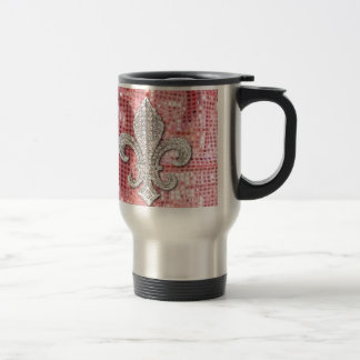 Pink Sequin Sparkle Jewel Fleur De Lis Vintage Travel Mug
