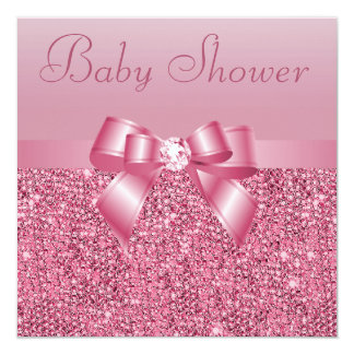 Pink Sequins, Bow & Diamond Baby Shower Card