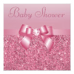 Pink Sequins, Bow & Diamond Baby Shower Personalized Invite