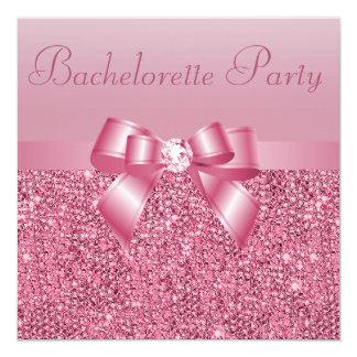 Pink Sequins, Bow & Diamond Bachelorette Party Card