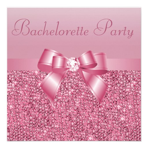 Pink Sequins, Bow & Diamond Bachelorette Party Custom Announcements