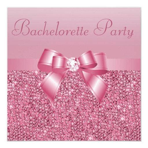 "Pink Sequins, Bow & Diamond Bachelorette Party 5.25"" Square Invitation Card"