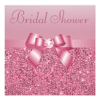 Pink Sequins Bow Diamond Bridal Shower Personalized Invitation